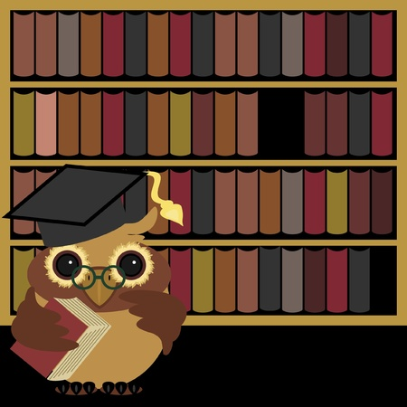 nice owl with books Vector