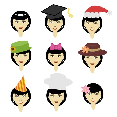 headgear: girl in different headdresses