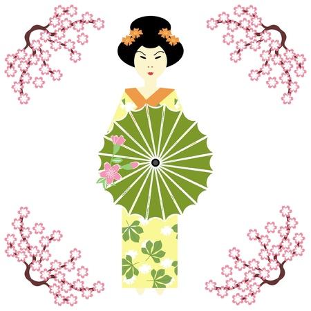 japanese girl with umbrella Vector