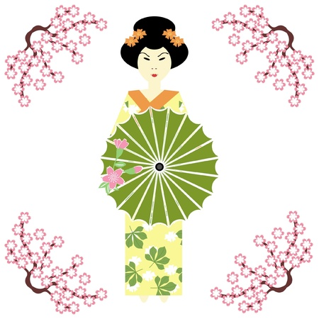 brunch: japanese girl with umbrella Illustration