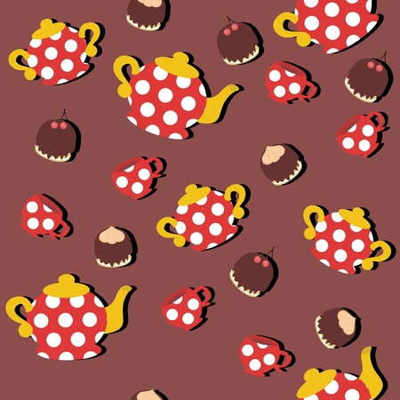 seamless background with teapots and cups Vector