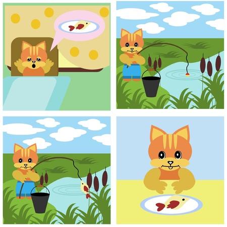 comics short story about cat Vector