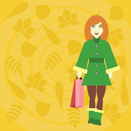 girl with bags Vector