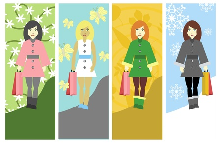four girls with bags Vector