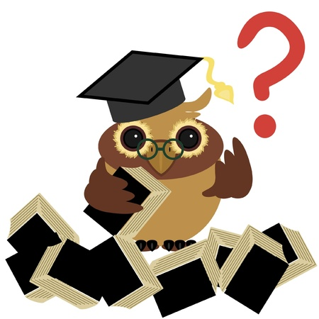 clever owl with books Stock Vector - 11835171