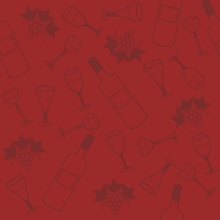 seamless background with wine bottle and glasses Vector