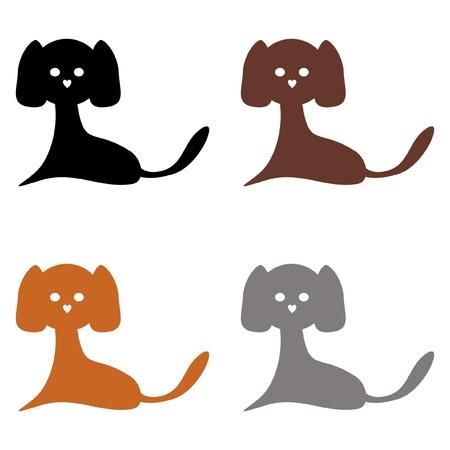 quatre chiens sur fond blanc