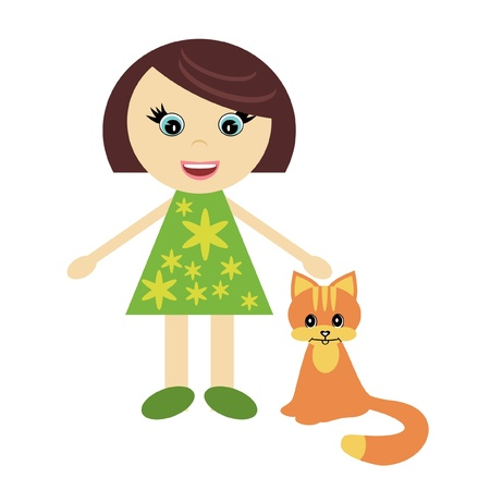 nice little girl with ginger cat Stock Vector - 11885989