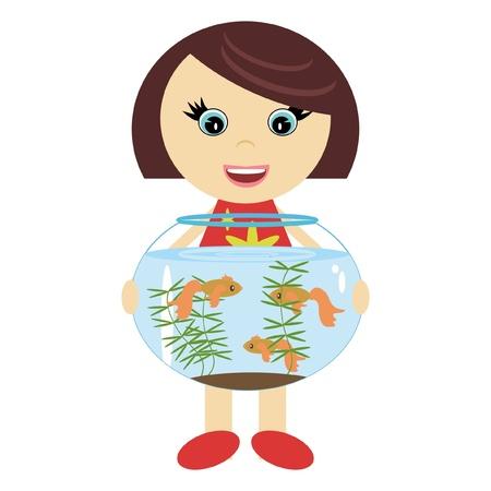 nice girl: nice girl with aquarium Illustration