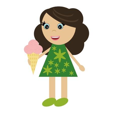 beautiful eating: nice little girl with ice cream Illustration