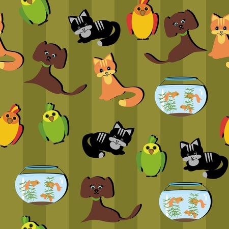 seamless background with pets Stock Vector - 11886020