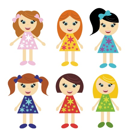 hair bow: six little girls with different hair styles