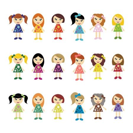 many girls on white background Vector