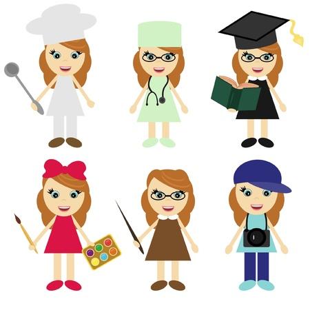diferentes profesiones: seis ni�as de diferentes profesiones Vectores