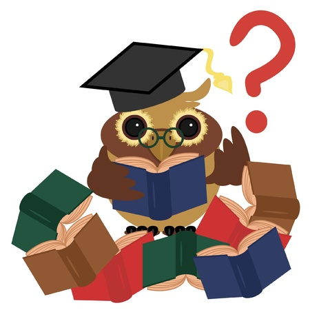 clever owl with books Vector