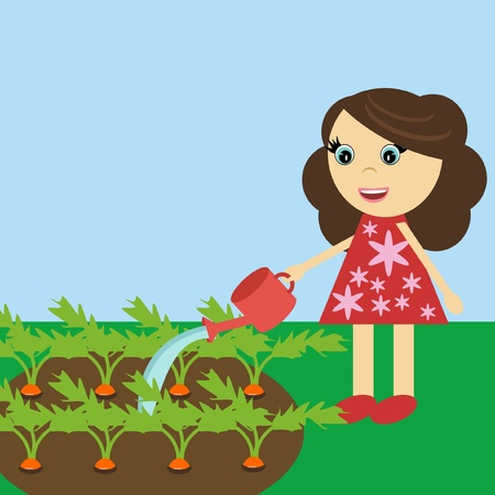 nice girl: nice girl watering carrot