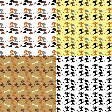 four backgrounds seamless with cats and dogs Vector