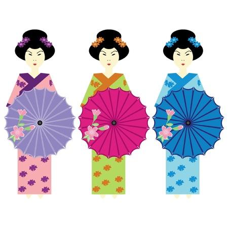 three girls in japanese dress Stock Vector - 11886016