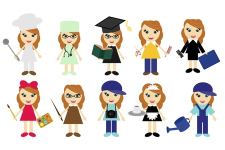 young women of ten different jobs Vector