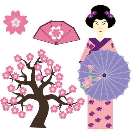 set with japanese girl, tree and fan Vector