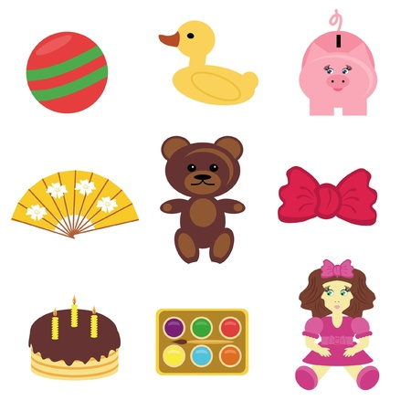 set with baby objects Vector