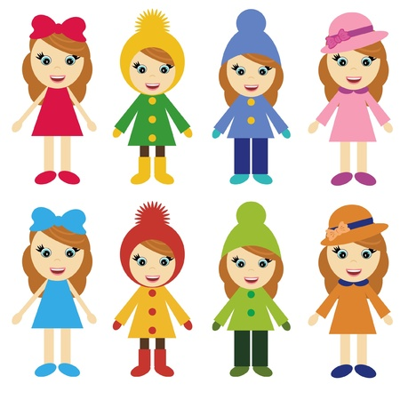 girls in different clothes Vector