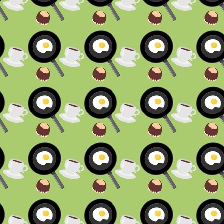 seamless background with fried eggs and coffee Vector