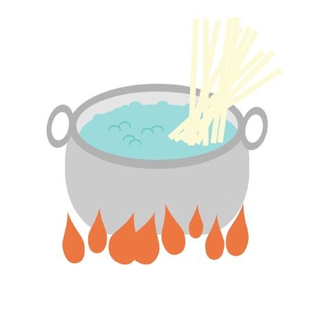 ebullition: po�le avec de l'eau bouillie et de nouilles Illustration