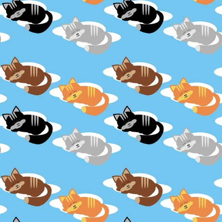 seamless background with cats and clouds Stock Vector - 11922693