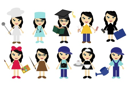 nice young girls of different jobs Vector