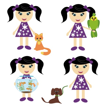 four girls with pets Stock Vector - 11922695
