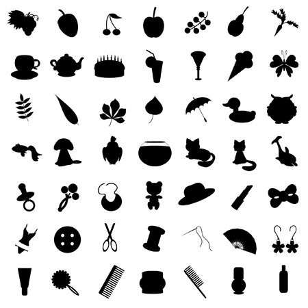 set with many different icons Vector