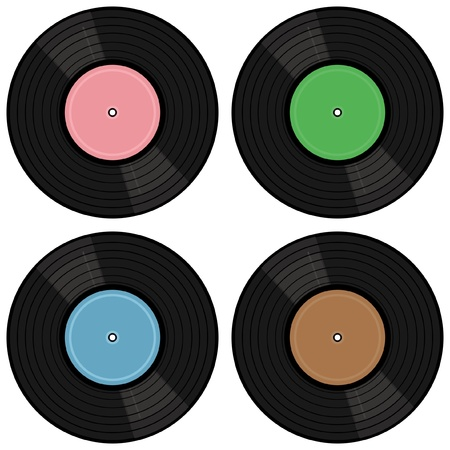 four vinyl records on white background Vector