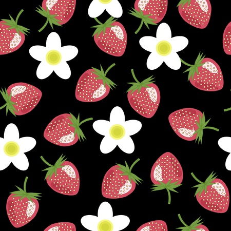 seamless background with strawberry Vector