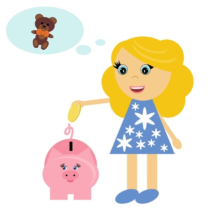 nice girl and piggy bank Vector