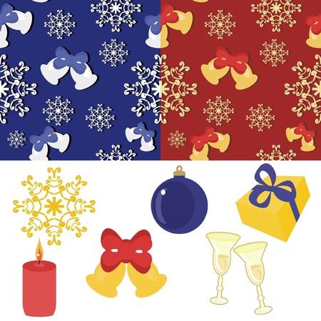 christmass: A�o nuevo y un conjunto Christmass Vectores