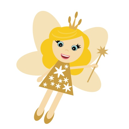 fairy elf girl on white background