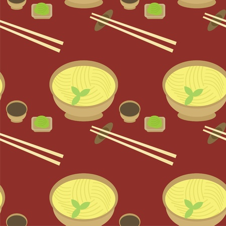 seamless background with noodle and chopsticks Vector