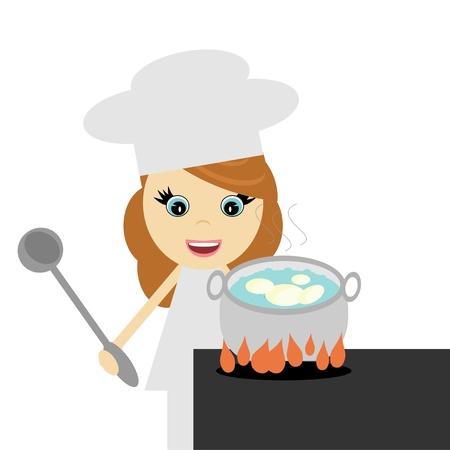 boil: girl cook with potato Illustration