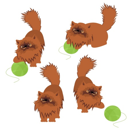 four nice cats playing with woolen ball Vector