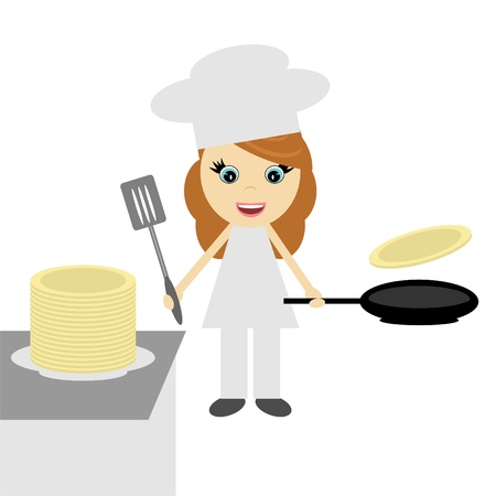 girl cook with pancakes Stock Vector - 12364186