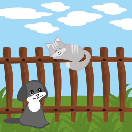 cat on fence and dog Vector