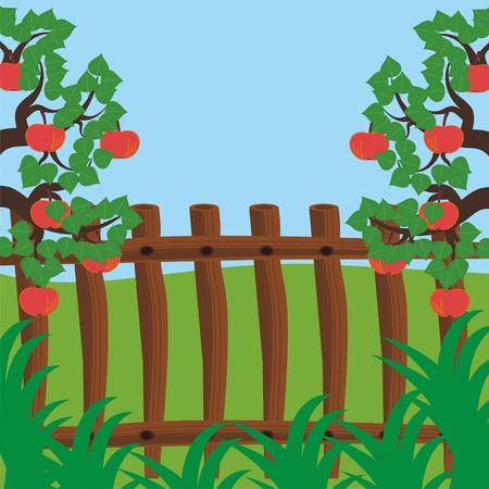 sky brunch: fence and apple trees Illustration