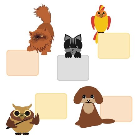 animals and birds with tables Stock Vector - 12364470