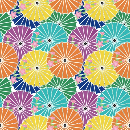 seamless background with japanese umbrellas Illustration