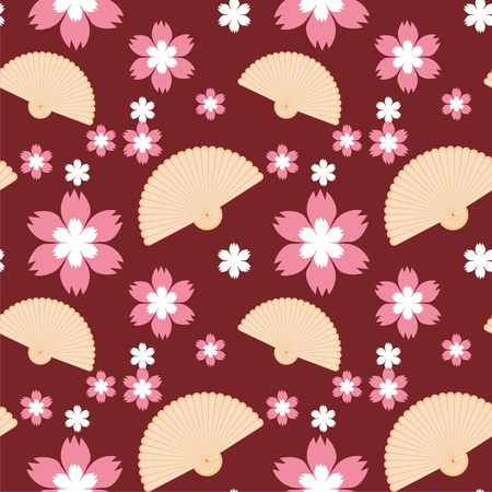 seamless background with fans and flowers