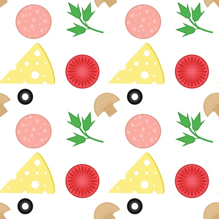 seamless background with pizza ingredients Vector