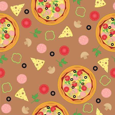 seamless background with pizza and ingredients Illustration