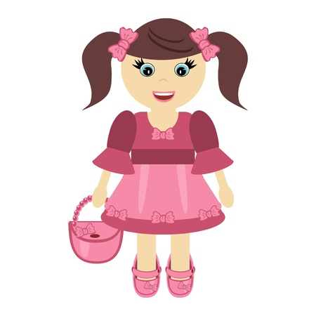 nice little girl with bag Vector