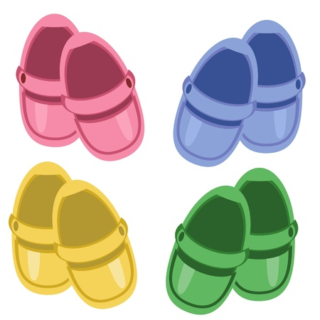 Kinder Schuhe auf weißem Hintergrund Vektorgrafik